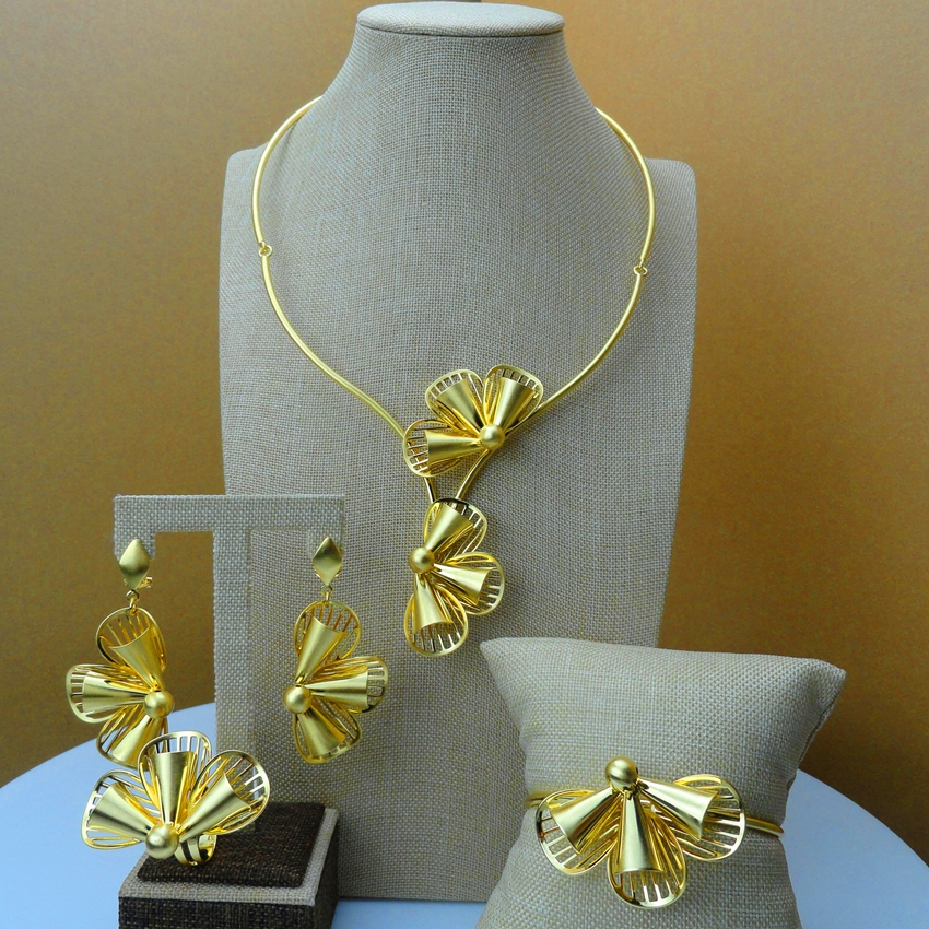 2019 African Jewelry leaf Design 24Karat Dubai Gold Jewelry Sets FHK6165