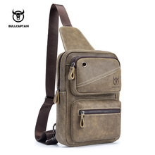 BULL CAPTAIN Vintage FAMOUS Brand Chest Bag Pack Messenger Male Shoulder Bags Cow Leather Crossbody Multifunction Retro