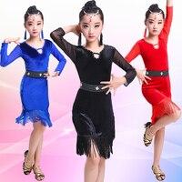 SONGYUEXIA New Pattern Children Latin Dance Dress Tassels Dance Costume V Lead In Sleeve for Kid costume girl latin dance