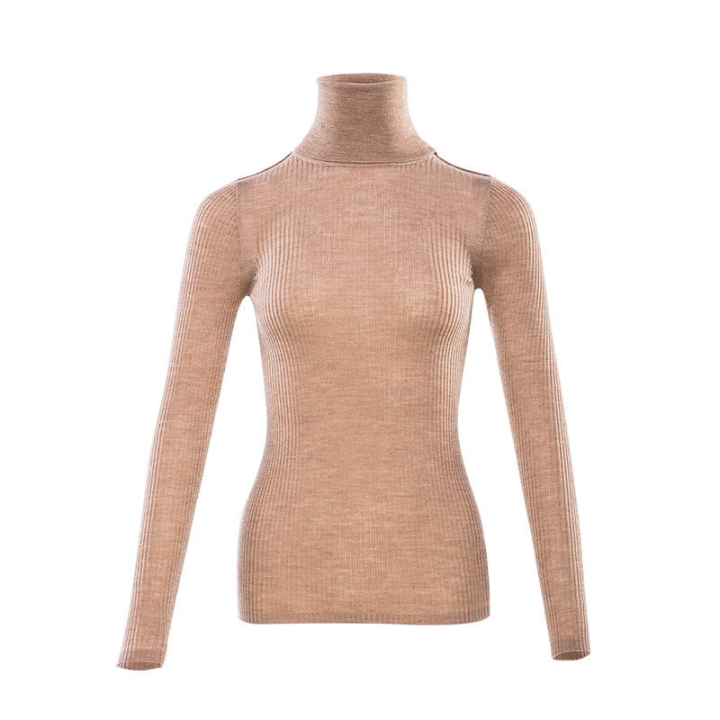 Image 4 - Women Wool Pullover 100%Merino Wool Sweater For Women Turtleneck  Rib Knits 2019 Fall Winter Sweaters Bottoming KnitwearPullovers   -