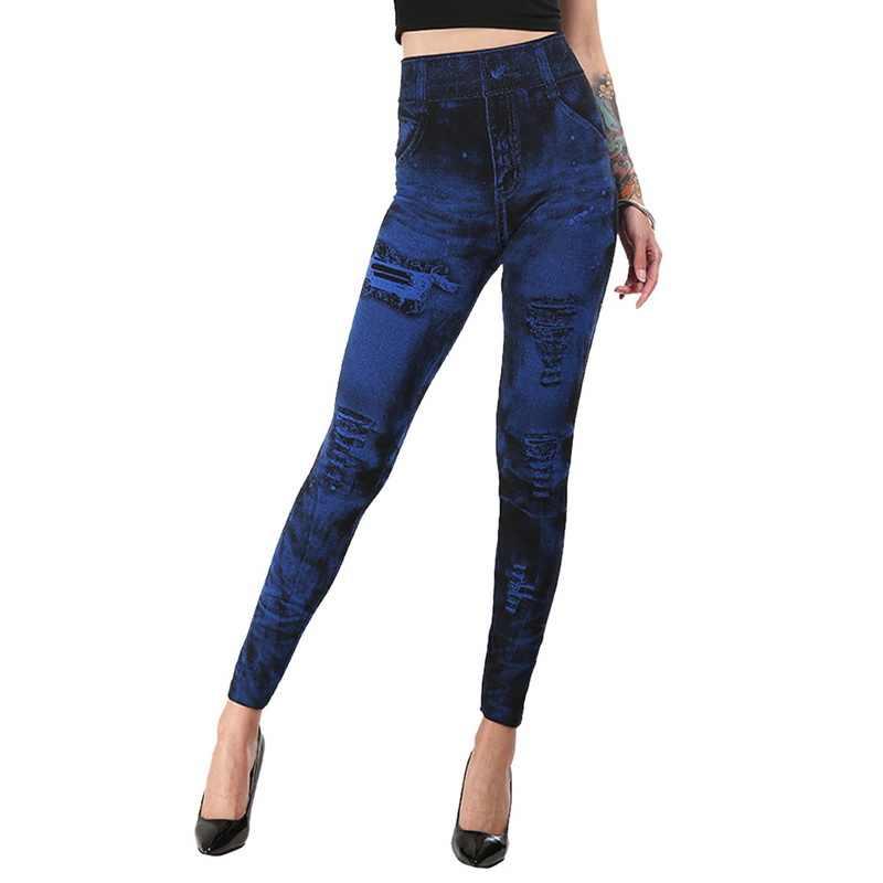 Sfit 女性のジムレギンスフェイクデニムジーンズレギンスポケット印刷レギンスカジュアルハイウエスト鉛筆のズボンプラスサイズのヨガパンツ