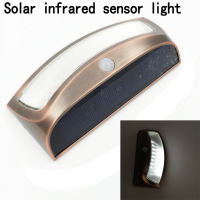 8 LED Outdoor Garden Solar Infrared Sensor Powered Light Copper Red Gutter Fence Yard Lamp Wall