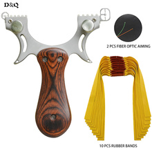 Powerful Catapult Slingshot Catapult With 10Pcs Slingshots Rubber Band Solid Shooting Fishing Sling Shot Hunting Slingshot Wood недорого