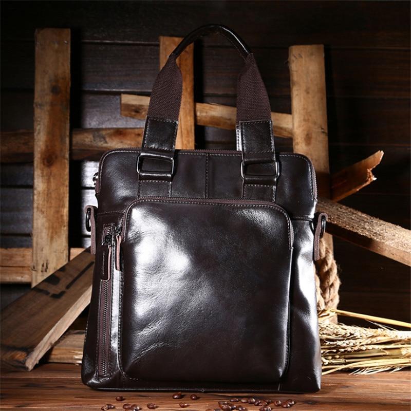 ФОТО Men Cowhide Genuine Leather Messenger Shoulder Bag Vintage Oil Wax Leather Crossbody Bag Brand Male Tote Bag Handbag 010