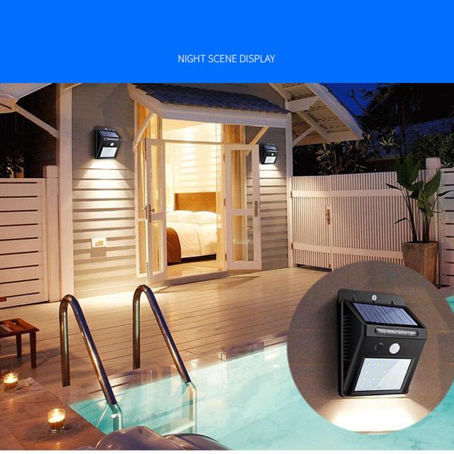 20/30/48 LED Solar light Bulb Outdoor Garden lamp Decoration PIR Motion Sensor Night Security Wall light Waterproof