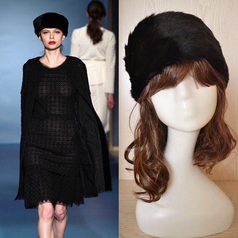 2016 Fashion Faux Rabbit Fur Hats Winter Womens Cap Faux Fur Black Wigs Headband Headgear Headdress Skullies Beanies