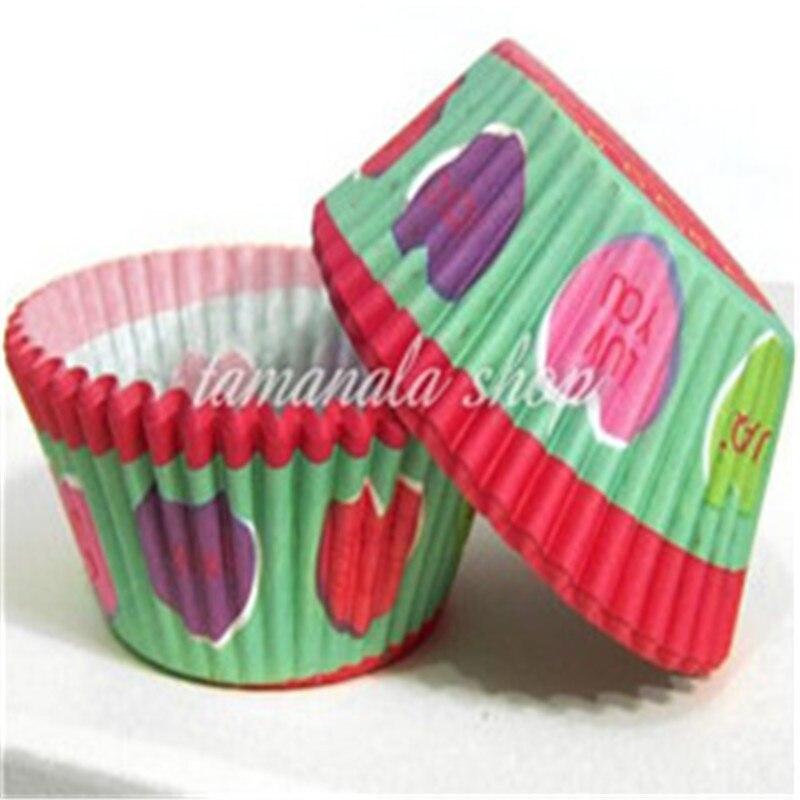 US popular ! 100pcs a set Cake Holder Round Grease proof Baking Cupcake Cases