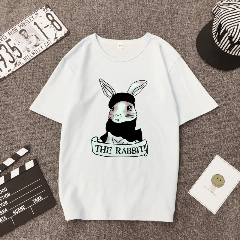 Cute Rabbit Print Women Tshirt High Quality Short Sleeve Round Neck Cotton Spandex Women Tops Casual Loose Women T-shirt 8