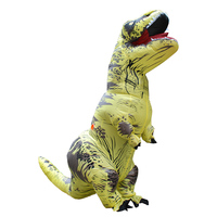 2017 Adult Yellow Polyester T REX INFLATABLE Dinosaur Costume Halloween Costumes For Men Fancy Dress With