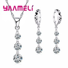 Fashion Jewelry Sets for Women Valentine Day 925 Sterling Silver Cubic Zircon Necklace Hoop Earrings Bridal Charm Bijoux(China)