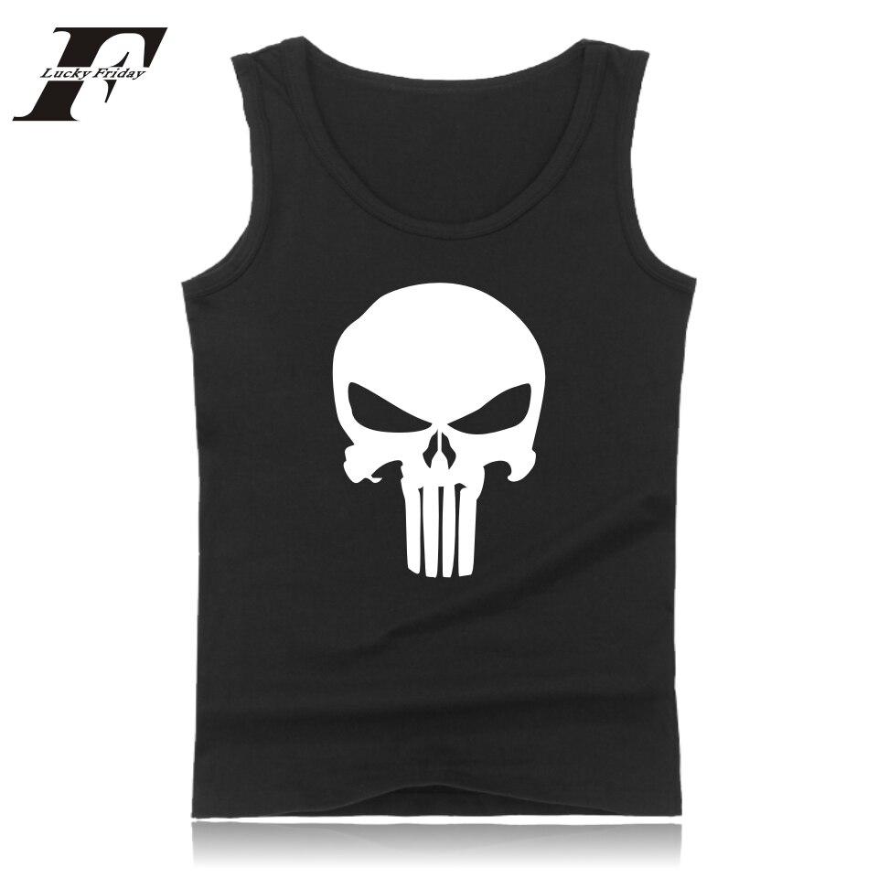 LUCKYFRIDAYF Plus 4XL Punisher Skull Summer Sleeveless Tee Shirt Cool Print Fashion Tank Top Men Fitness Shirt Mens Black Vest