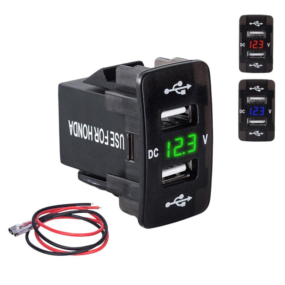 DC 12-24 V Dupla Porta USB Car Charger Cigarro Isqueiro Power Adapter com LED Voltímetro Medidor Digital Monitor Para Honda