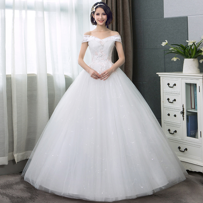 Ivory new arrive Boat neck Lace ball gown Appliques Flowers Short Sleeve formal bride dresses wedding dress