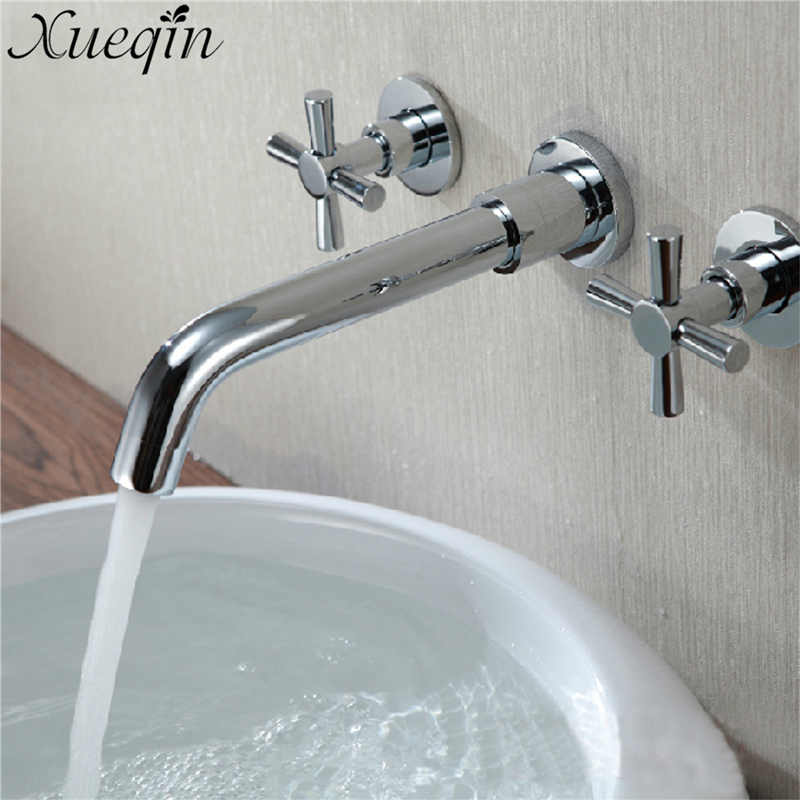Solid Brass Double Handle Bathroom Waterfall Tap Wall Mounted Bathroom Basin Faucet Mixer Tap Chrome Polished With 2 Hoses chrome polished solid brass bathroom sink faucet waterfall spout bathroom basin mixer tap wall mounted