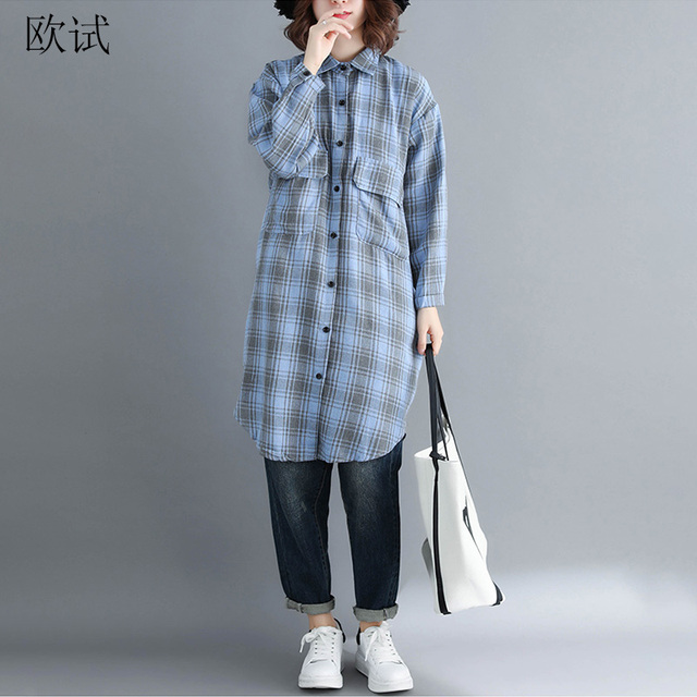 008a02296f7a4 2018 Autumn New Plaid Blouse Women Long Sleeve Cotton and Linen Dovetail  Plus Size Long Blouses Casual Loose Shirt Top 4XL XY527