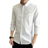 Dudalina Top Brand Casual Men Shirt Male Good Quality Shirts Men's Long Three Quarter Sleeve Embroidery Cotton Dress Shirts