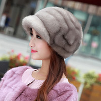 Women's Fur Hat Fashion Water Mane Hat Outdoor Walking Sports Hunting Hiking Round Mink Hair Warm And Simple