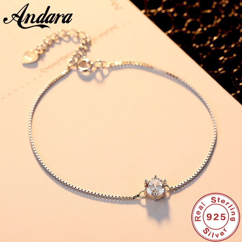 100%925 Sterling Silver Bracelet Four-claw AAA Zircon Austrian <font><b>Crystal</b></font> Lady Elegant Birthday Jewelry Gift image