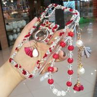 For iPhone 8 8plus Bling Crystal Diamond case for iphone X XS XR max 7 7plus 6 6S 6SPLuxury Girl Lady gift case with ring +strap