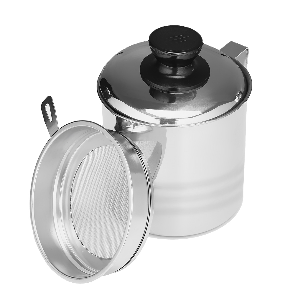 Uarter 1200ml Stainless Steel Fine Mesh Strainer Superior Oil Strainer Pot Food-grade Grease Container Oil Can with Lid