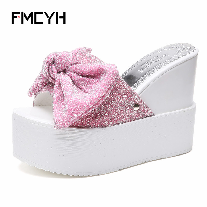 цены FMCYH Women Slippers Summer Flip Flops For Woman Wedges Platform Shoes Bling Bowknot Ladies Slides Beach Sandals Women Slippers