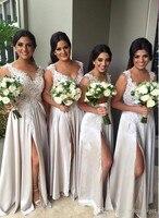 Sexy Line Длинные Платья Выпускного Вечера 2016 Платья Невесты для Свадьбы Кружева Аппликации для Свадьбы robe красавка почетного легиона