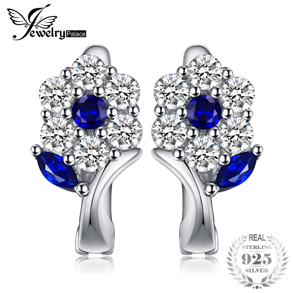 JewelryPalace Fashion 0.71ct Created Blue Spinel Flower Earrings S925 Sterling Silver Clip On Earrings Jewelry For Women Gift