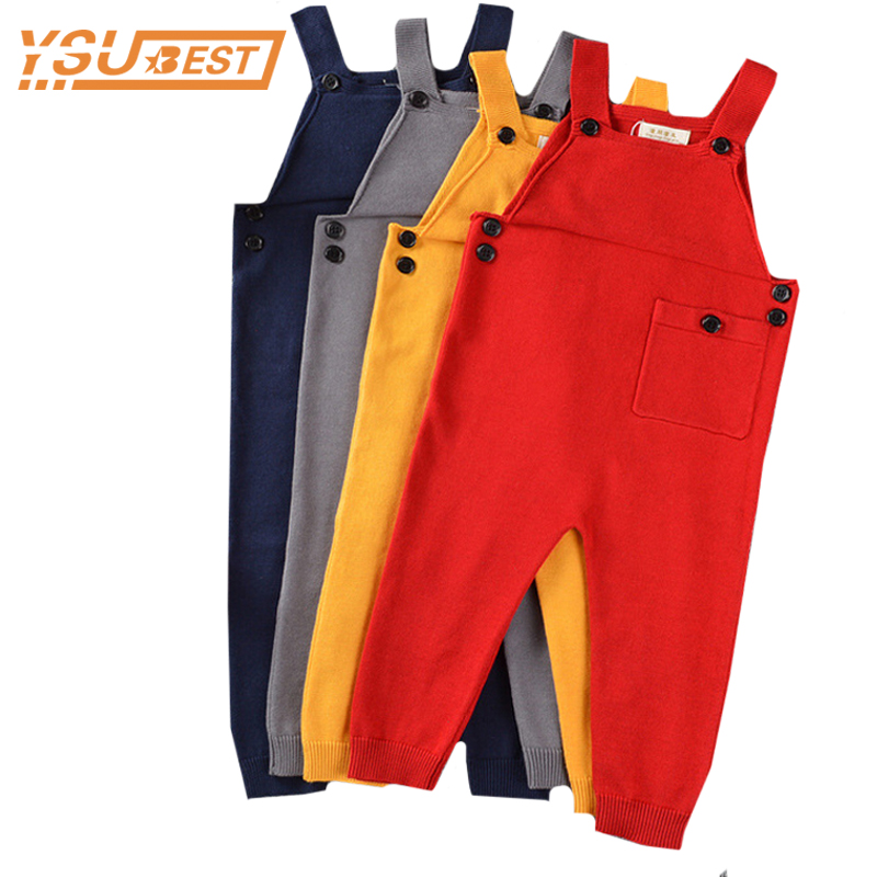 New 2019 Boy Overalls Knit Spring Children Kids Candy Bib Harem Pants Boys Girls Pocket Knitted Overalls Jumpsuits Baby Clothing