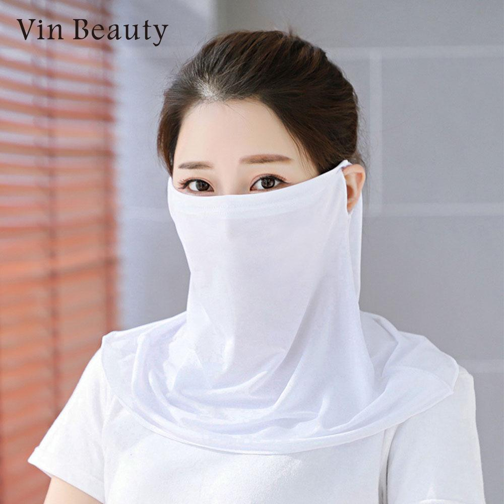 2018 Women Thin Ice Silk Mouth mask riding mask Sun Face Mask Neck Protection