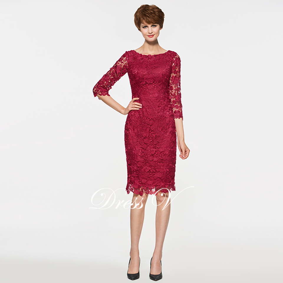 Dressv Red Scoop Neck Sheath Knee Length Mother Of The Bride Dress ...