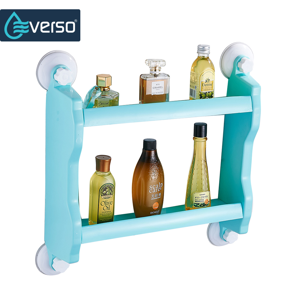 EVERSO 2 Layer Bathroom Shelf Strong Suction Cup Rack Organizer ...