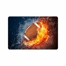 """23.6(L) x 15.7(W),3/17"""" thickness, Stylish Football between Water and Fire Machine-washable Doormat Mat"""