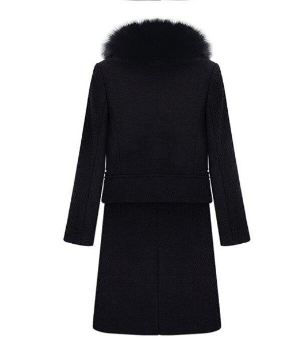 Manteaux Long De Dame Laine Automne Manteau Col Hiver Trench Black 3xl Taille Femmes Fourrure Épais Outwear Mince Grande 7qnXwW06f
