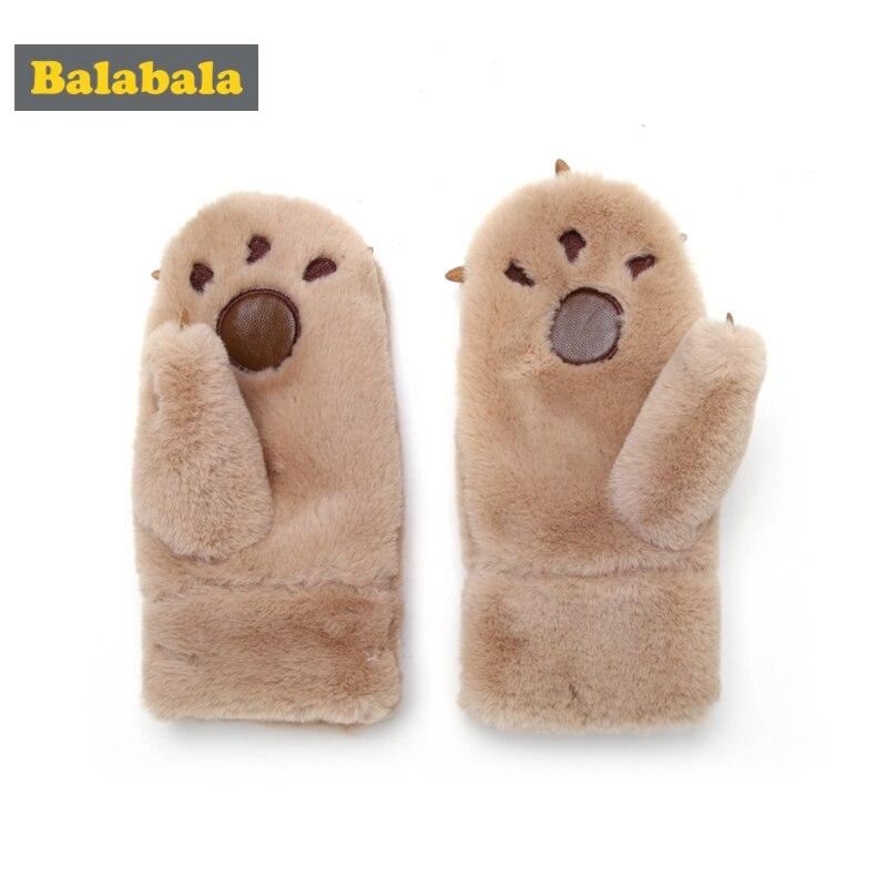 Balabala Plüsch Fleece-gefüttert Eisbär Pfote Handschuhe Für Jungen Mädchen Kinder Kleinkind Mit Applique Gerade Bei Manschetten Einfach Zu Tragen