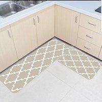 2 Piece Kitchen Mats and Rugs Set Modern Moroccan Trellis Home Deocr Non Skid Area Runner Doormats Carpet