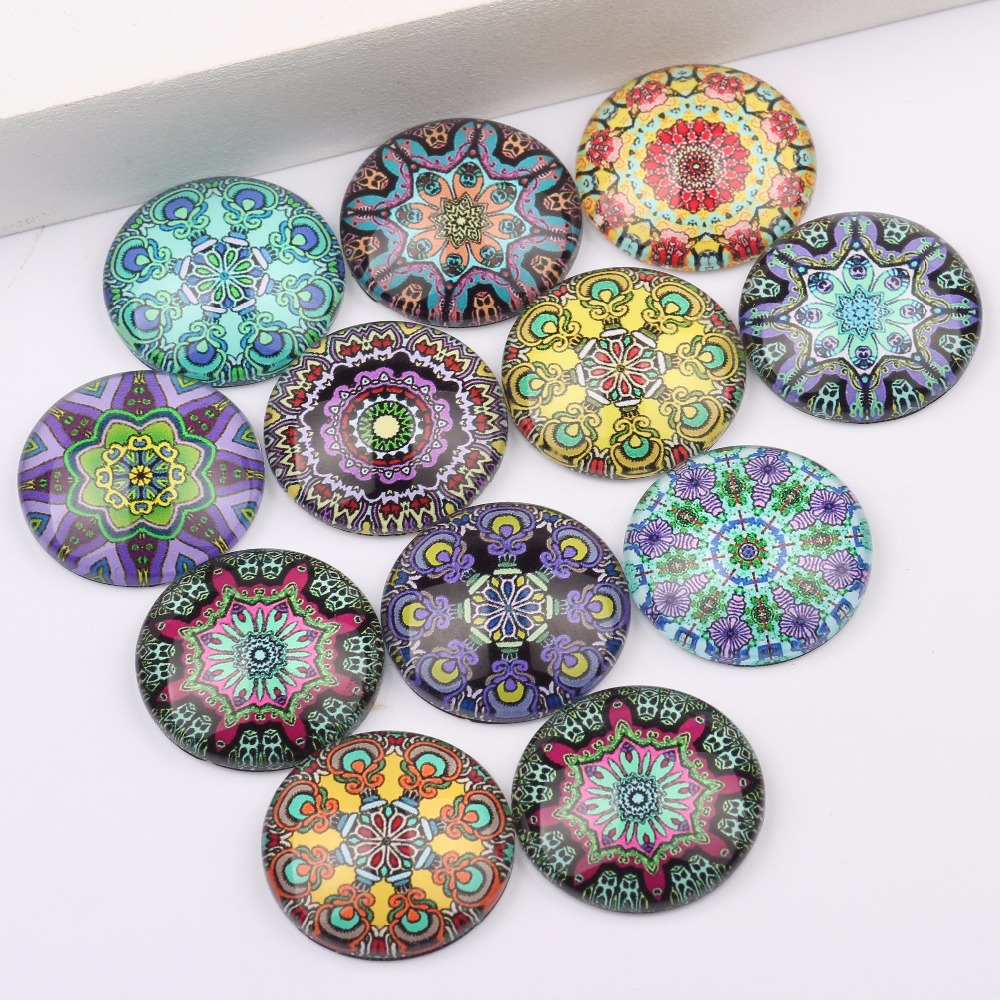 reidgaller mixed mandala pattern photo round dome glass cabochons 20mm 12mm 10mm 14mm 18mm 25mm diy flatback jewelry components