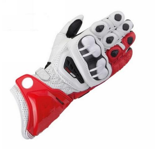 New 100% Genuine Leather GP PRO Red/white Motorcycle Long Gloves MotoGP M1 Racing Driving GP PRO Motorbike Cowhide Gloves new street alpine gloves five 5 rfx1 ine replica gloves leather protective motorcycle racing mens gloves gp pro stars