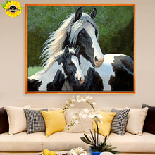 Aml Home Rhinestone Diamond Embroidery Full Diy Diamond Painting Horse Handicraft Inlay Mosaic Cross Stitch Crafts Paintings