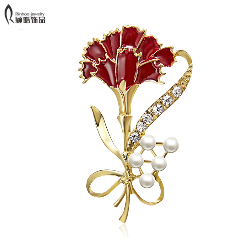 Rhinestone Crystal Carnation Rose Flower Bouquet Brooch Pin Mother/'s Day Gift
