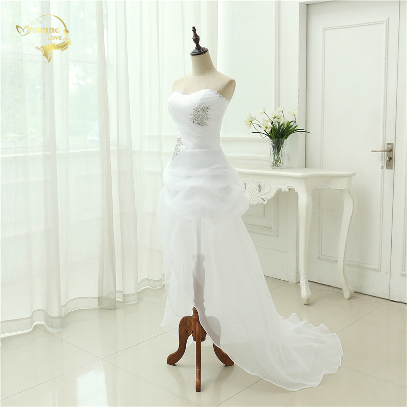 Vestido De Noiva 2017 New Shiny Organza Women Bride Sweetheart Beading Front Short Back Long White Ivory Wedding Dresses OC3399 4