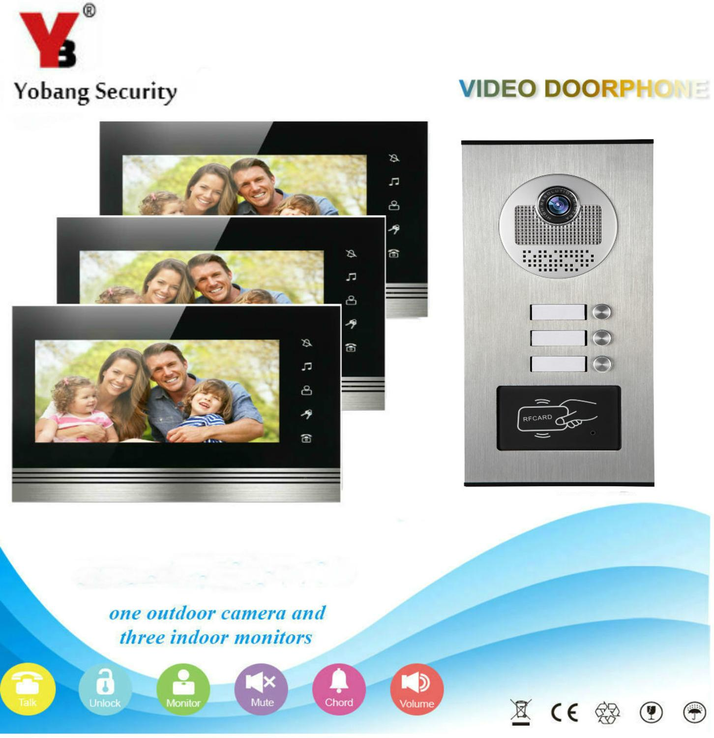 7'' Color Video Door Phone 3 Monitors With 1 Intercom Doorbell Can Control 3 Houses For Multi Apartment RFID Camera