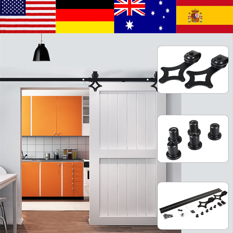 6.6FT 2000mm Rail Sliding Barn Door Track Heavy Duty Fittings For Wood Door Sliding Barn Track System Roller Door Hardware Kits