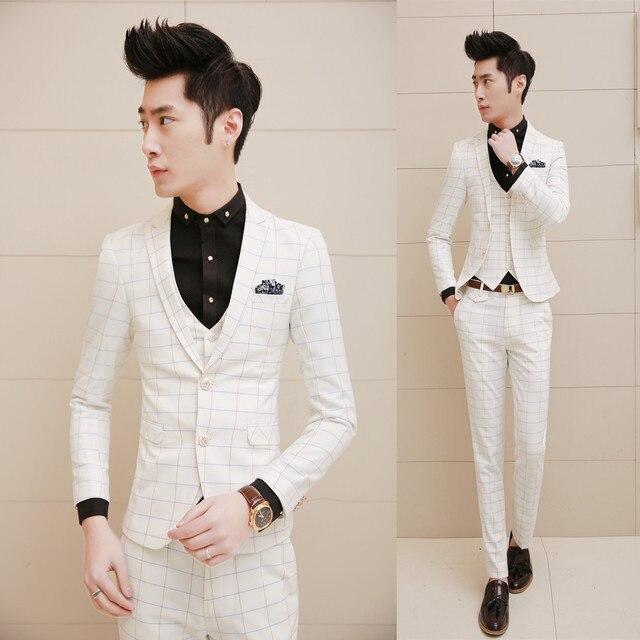 2015 New Arrival White Plaid Men Suits With Pants Vest 3PCS / Set Wedding Suits for Men Prom Groom Marriage Slim Fit Dress Suits