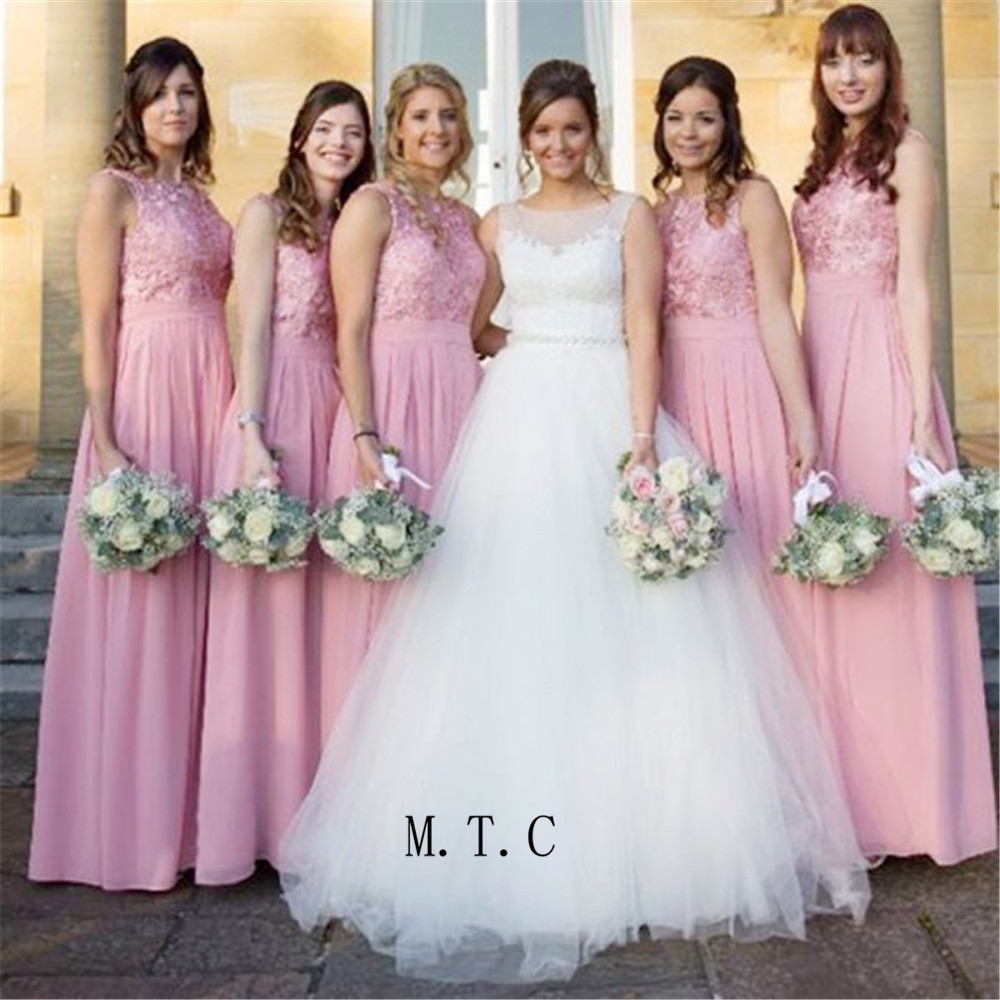 Custom Made Pink Chiffon   Bridesmaid     Dresses   A Line Lace Top Floor Length Long Wedding Party Gowns 2019 Cheap Maid Of Honor   Dress