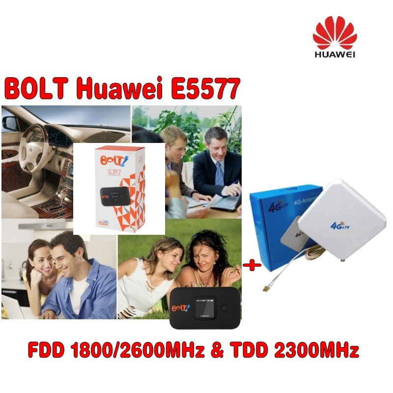 HUAWEI E5577 4G LTE Mobile WiFi Router Support LTE FDD And TDD Network  plus with two TS9 connector 35DBI 4G antenne free shipping g4 fdd tdd 150m portable 4g lte wifi router