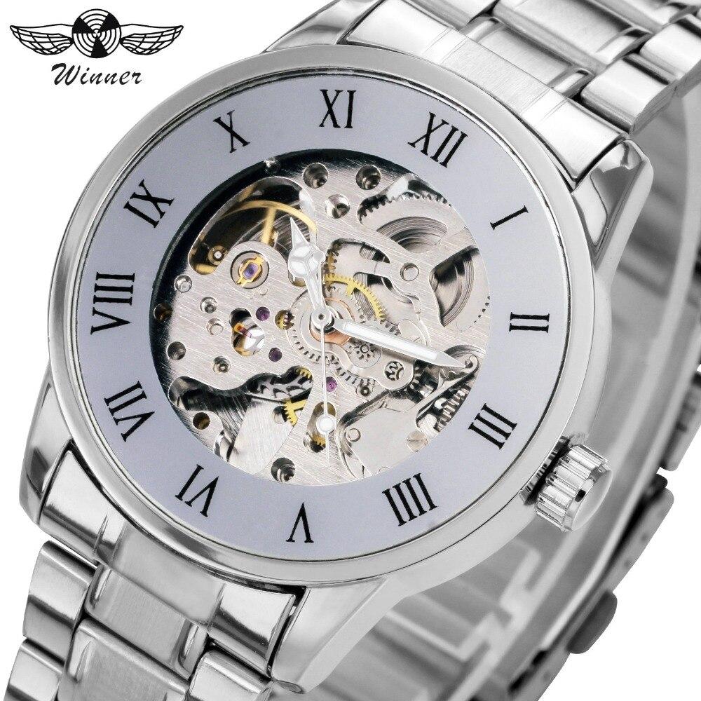 Luxus márka acél férfiak óra automatikus csontváz mechanikus - Férfi órák