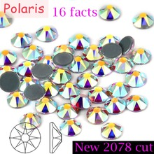 New 2078 Cut AAAAA 16 Facet Grade Crystal AB Hotfix Iron on Rhinestones Mainsize ss10 ss16 ss20 ss30 8+8 Facets for Diy & Motif