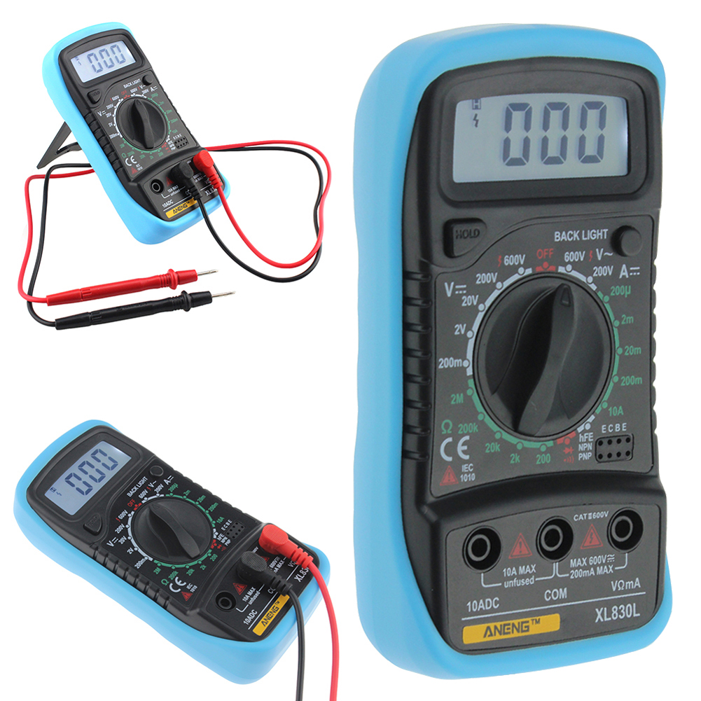 XL830L Digital Multimeter LCD Display blue Back Light ACDCOHM Ammeter Voltmeter OHM Portable Meter 140 x 70 x 30mm