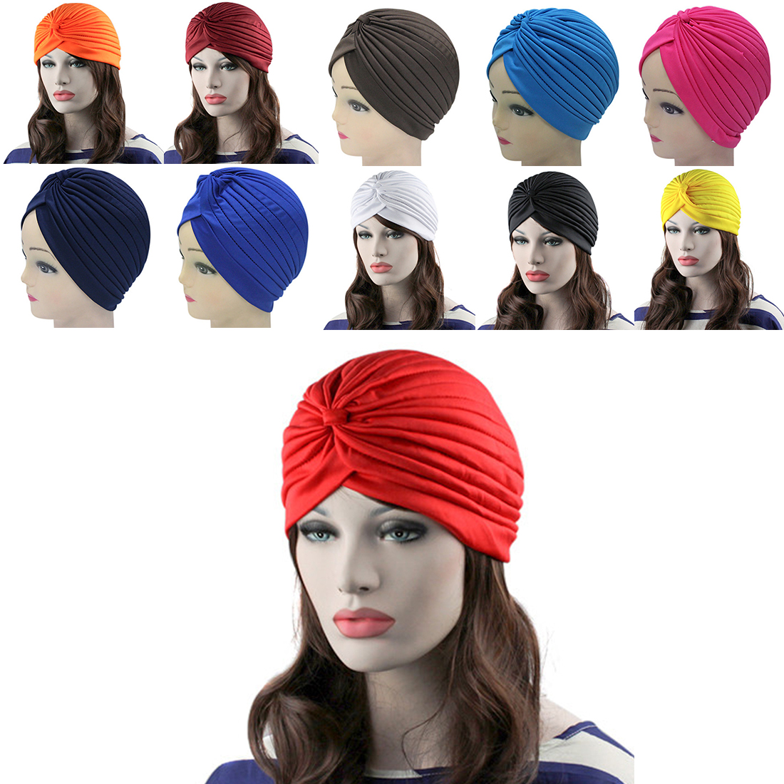 Unisex Indian Style Fashion Stretchable Turban Hat Hair Head Wrap Cap Headdress skullies 2017 fashion new arrival indian yoga turban hat ear cap sleeve head cap hat men and women multicolor fold 1866688