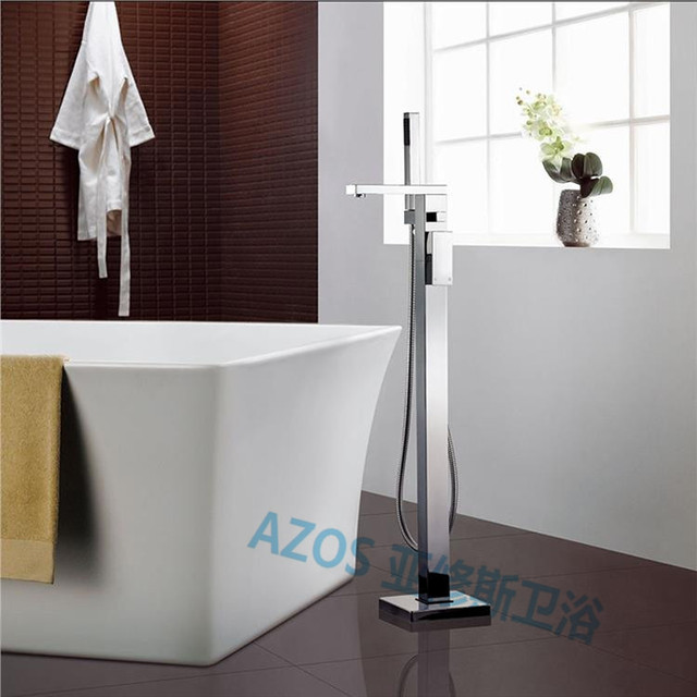 Bathtub Faucets Modern Chrome Copper Water Mixers Floor Stand Hand Hold  Bathroom Shower Sauna Kit LDTZ007